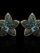 cheap -Women's AAA Cubic Zirconia Earrings Geometrical Petal Elegant Fashion Vintage European Earrings Jewelry Blue For Street Gift Vacation Festival 1 Pair