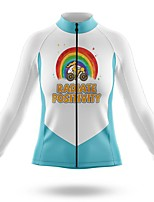 cheap -21Grams Women's Long Sleeve Cycling Jersey Spandex Blue+White Rainbow Bike Top Mountain Bike MTB Road Bike Cycling Quick Dry Moisture Wicking Sports Clothing Apparel / Stretchy / Athleisure