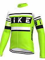 cheap -21Grams Men's Long Sleeve Cycling Jersey Spandex Green Color Block Fluorescent Bike Top Mountain Bike MTB Road Bike Cycling Quick Dry Moisture Wicking Sports Clothing Apparel / Athleisure