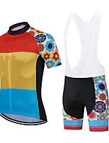 cheap -CAWANFLY Men's Short Sleeve Cycling Jersey with Bib Shorts Summer Polyester Red+Blue Geometic Funny Bike Clothing Suit Breathable Sweat wicking Sports Geometic Mountain Bike MTB Road Bike Cycling
