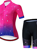 cheap -21Grams Women's Short Sleeve Cycling Jersey with Shorts Summer Spandex Rose Red Gradient Bike Quick Dry Moisture Wicking Sports Grid / Plaid Mountain Bike MTB Road Bike Cycling Clothing Apparel