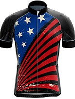 cheap -21Grams Men's Short Sleeve Cycling Jersey Summer Spandex Polyester Red+Blue Stripes American / USA Funny Bike Top Mountain Bike MTB Road Bike Cycling Quick Dry Moisture Wicking Breathable Sports