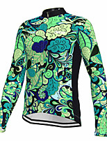 cheap -21Grams Men's Long Sleeve Cycling Jersey Spandex Polyester Green Floral Botanical Fluorescent Funny Bike Top Mountain Bike MTB Road Bike Cycling Quick Dry Moisture Wicking Breathable Sports Clothing