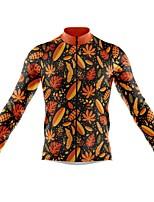 cheap -21Grams Men's Long Sleeve Cycling Jersey Spandex Orange Leaf Bike Top Mountain Bike MTB Road Bike Cycling Quick Dry Moisture Wicking Sports Clothing Apparel / Athleisure