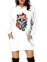 cheap -Women's A Line Dress Short Mini Dress Green White Black Red Long Sleeve Floral Abstract Pocket Print Fall Winter Hooded Casual Halloween 2021 S M L XL XXL 3XL