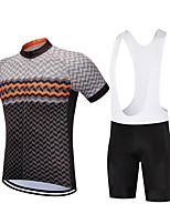 cheap -CAWANFLY Men's Short Sleeve Cycling Jersey with Bib Shorts Summer Brown Bike Sports Geometic Mountain Bike MTB Road Bike Cycling Clothing Apparel / Micro-elastic / Athleisure / Triathlon