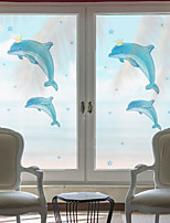cheap -Dolphins Pattern Matte Window Film Cling Vinyl Thermal-Insulation Privacy Protection Home Decor For Window Cabinet Door Sticker Window Sticker - 116*60CM