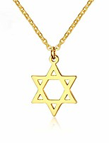 cheap -star of david pendant necklace, stainless steel tiny six-pointed megan star necklace israel jewish jewelry for women men hip hop (gold)