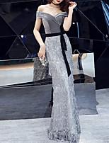 cheap -Mermaid / Trumpet Sparkle Elegant Prom Formal Evening Dress Off Shoulder Short Sleeve Floor Length Sequined Velvet with Sash / Ribbon Sequin Tassel 2021