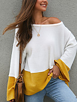 cheap -Women's T shirt Color Block Long Sleeve Patchwork Off Shoulder Basic Tops Blue Yellow Light Blue