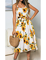 cheap -Women's Swing Dress Midi Dress Dark blue flowers Yellow White Sleeveless Color Block Ruched Ruffle Print Spring Summer Square Neck Strap Active Casual Holiday 2021 S M L XL / Cotton