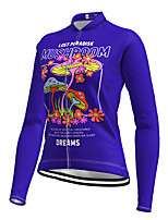 cheap -21Grams Women's Long Sleeve Cycling Jersey Spandex Polyester Purple Floral Botanical Funny Bike Top Mountain Bike MTB Road Bike Cycling Quick Dry Moisture Wicking Breathable Sports Clothing Apparel