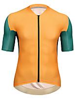 cheap -21Grams Men's Short Sleeve Cycling Jersey Summer Spandex Dark Green Orange Color Block Bike Top Mountain Bike MTB Road Bike Cycling Quick Dry Moisture Wicking Sports Clothing Apparel / Athleisure