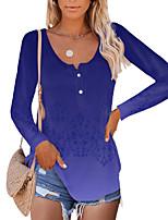 cheap -Women's Holiday Floral Theme Painting T shirt Floral Color Gradient Long Sleeve Button Print Round Neck Basic Tops Regular Fit Blue Purple Lavender / 3D Print