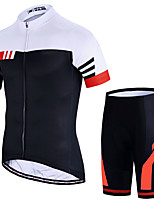 cheap -21Grams Men's Short Sleeve Cycling Jersey with Shorts Summer Spandex Polyester Red Blue Green Stripes Patchwork Funny Bike Clothing Suit 3D Pad Quick Dry Moisture Wicking Breathable Back Pocket Sports