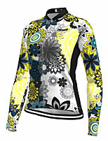 cheap -21Grams Women's Long Sleeve Cycling Jersey Spandex Polyester Yellow Floral Botanical Funny Bike Top Mountain Bike MTB Road Bike Cycling Quick Dry Moisture Wicking Breathable Sports Clothing Apparel