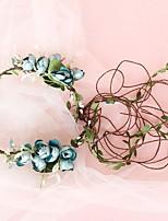 cheap -Hand-woven Rattan Headgear Handmade Simulation Rose Bud Holiday Photography Vintage Wreath Headgear Hair Accessories