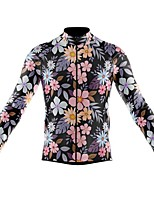 cheap -21Grams Men's Long Sleeve Cycling Jersey Spandex Polyester Pink Floral Botanical Funny Bike Top Mountain Bike MTB Road Bike Cycling Quick Dry Moisture Wicking Breathable Sports Clothing Apparel