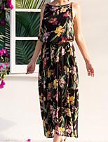 cheap -Women's Shift Dress Maxi long Dress Black Sleeveless Flower Elastic Waistband Print Spring Summer Wide collar Elegant Casual 2021 S M L XL 2XL