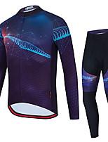 cheap -21Grams Men's Long Sleeve Cycling Jersey with Tights Summer Spandex Blue Polka Dot Bike Quick Dry Moisture Wicking Sports Polka Dot Mountain Bike MTB Road Bike Cycling Clothing Apparel / Stretchy