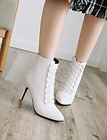 cheap -Women's Boots Stiletto Heel Pointed Toe Booties Ankle Boots Wedding Daily PU Solid Colored White / Booties / Ankle Boots