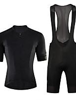 cheap -CAWANFLY Men's Short Sleeve Cycling Jersey with Bib Shorts Summer Black Bike Sports Geometic Mountain Bike MTB Road Bike Cycling Clothing Apparel / Micro-elastic / Athleisure / Triathlon
