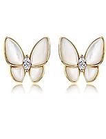 cheap -925 sterling silver mother-of-pearl butterfly studs earrings for women teen girls cz butterfly earrings (b-gold)