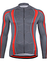 cheap -21Grams Men's Long Sleeve Cycling Jersey Spandex Grey Color Block Bike Top Mountain Bike MTB Road Bike Cycling Quick Dry Moisture Wicking Sports Clothing Apparel / Athleisure