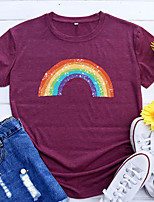 cheap -Women's T shirt Rainbow Graphic Print Round Neck Basic Vintage Tops Regular Fit Blue Blushing Pink Wine