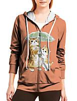 cheap -Women's Hoodie Zip Up Hoodie Sweatshirt Cat Animal Zipper Print Daily Sports 3D Print Active Streetwear Hoodies Sweatshirts  Gray Green Orange