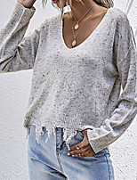 cheap -Women's Pullover Sweater Vintage Style Dot Casual Sexy Distressed Cotton Long Sleeve Sweater Cardigans Deep V Fall Winter Creamy-white / Holiday