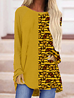 cheap -Women's Butterfly Painting T shirt Butterfly Animal Long Sleeve Pocket Print Round Neck Basic Tops Yellow / 3D Print