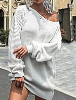 cheap -Women's Sweater Jumper Dress Short Mini Dress Blue Blushing Pink Wine Dusty Rose Gray Khaki White Black Long Sleeve Solid Color Ruched Fall Round Neck Casual 2021 S M L XL XXL 3XL 4XL 5XL