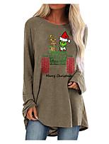 cheap -Women's Shift Dress Short Mini Dress Blue Blushing Pink Gray White Black Brown Long Sleeve Print Letter Animal Print Fall Winter Round Neck Casual Christmas 2021 S M L XL XXL 3XL 4XL 5XL