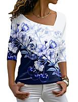cheap -Women's Floral Theme Painting T shirt Floral Color Block Fruit Long Sleeve Print V Neck Basic Tops Blue Purple Black