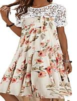 cheap -Women's A Line Dress Knee Length Dress Beige Short Sleeve Floral Print Summer Round Neck Casual Halloween 2021 S M L XL XXL / Long Sleeve