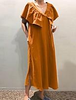 cheap -Women's Loose Maxi long Dress Green Orange White Short Sleeve Solid Color Modern Style Summer V Neck Casual 2021 S M L XL XXL XXXL