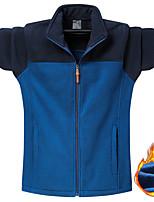 cheap -Men's Hiking Windbreaker Hiking Fleece Jacket Winter Outdoor Stripes Thermal Warm Windproof Fleece Lining Front Zipper Winter Fleece Jacket Trench Coat Top Single Slider Skiing Fishing Climbing Army