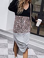 cheap -Women's T Shirt Dress Tee Dress Maxi long Dress Black Long Sleeve Leopard Print Patchwork Print Fall Spring V Neck Active Casual 2021 S M L XL / Cotton