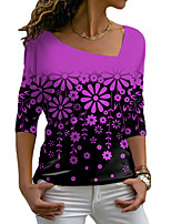 cheap -Women's Floral Theme Painting T shirt Floral Graphic Long Sleeve Print V Neck Basic Tops Blue Purple Blushing Pink