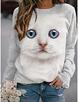 cheap -Women's Sweatshirt Pullover Cat 3D Animal Print Casual Sports 3D Print Basic Streetwear Hoodies Sweatshirts  White