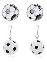 cheap -2 pairs hypoallergenic silver soccer ball stud earrings simulation simple black and white lattic earrings resin personalized earrings (silver soccer ball stud earrings)