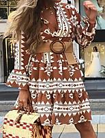 cheap -Women's A Line Dress Short Mini Dress Brown Long Sleeve Print Modern Style Spring Summer V Neck Casual 2021 S M L XL XXL XXXL
