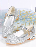 cheap -Girls' Heels Flower Girl Shoes Leather PU Portable Walking Wedding Dress Shoes Little Kids(4-7ys) Big Kids(7years +) Daily Party & Evening Walking Shoes Sparkling Glitter Buckle Sequin Pink Silver