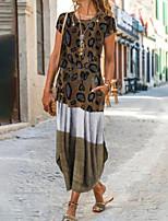cheap -Women's A Line Dress Maxi long Dress Brown Short Sleeve Color Block Leopard Patchwork Print Fall Round Neck Casual 2021 S M L XL XXL 3XL 4XL 5XL