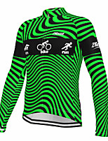 cheap -21Grams Men's Long Sleeve Cycling Jersey Spandex Polyester Green Fluorescent Funny Bike Top Mountain Bike MTB Road Bike Cycling Quick Dry Moisture Wicking Breathable Sports Clothing Apparel