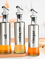 cheap -Stainless Steel Oil Bottle Kitchen Leak-Proof Glass Oil Can Push Soy Sauce Vinegar Seasoning Bottle Sesame Oil Pot Household