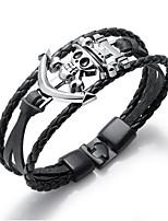 cheap -Men's Bracelet Geometrical Skull Vintage Alloy Bracelet Jewelry claret / Black with White / Black For Street Daily Carnival Festival