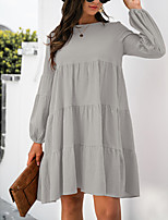 cheap -Women's A Line Dress Knee Length Dress ArmyGreen Blushing Pink Grey Orange Black Long Sleeve Solid Color Modern Style Fall Winter Round Neck Casual 2021 S M L XL