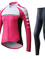 cheap -21Grams Women's Long Sleeve Cycling Jersey with Tights Summer Spandex Rose Red Stripes Bike Quick Dry Moisture Wicking Sports Stripes Mountain Bike MTB Road Bike Cycling Clothing Apparel / Stretchy